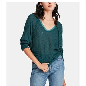 Free People Thiens Hacci Sweater Turquoise Small